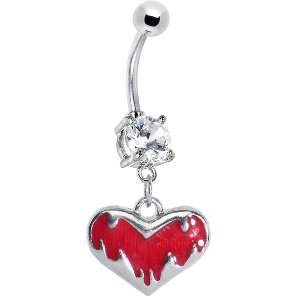 Crystalline Gem Jagged Red Heart Belly Ring