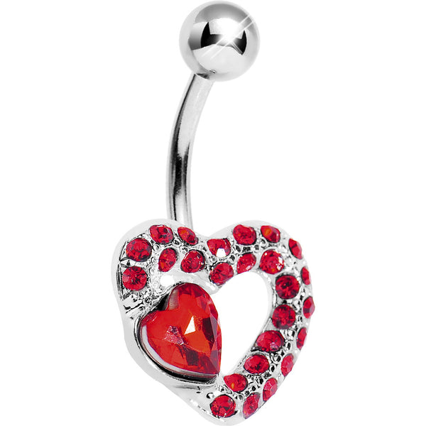Red Gem Desire of the Heart Belly Ring