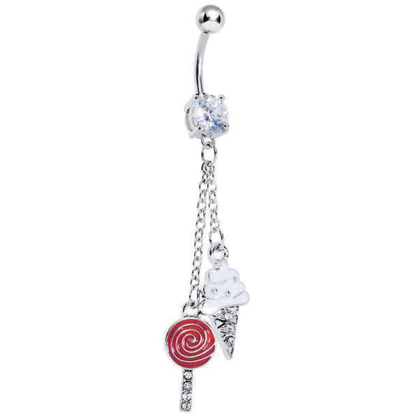 Ice Cream and Lollipop Dangle Belly Ring