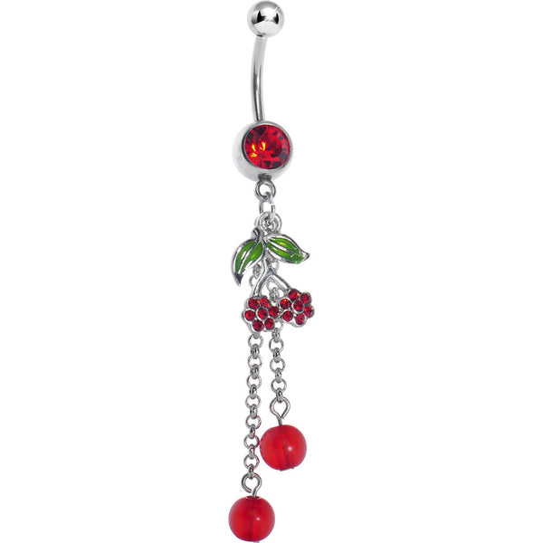 Red Gem Double Cherry Drop Belly Ring