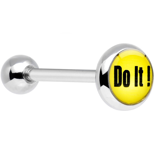 Stainless Steel Yellow Do It Barbell Tongue Ring