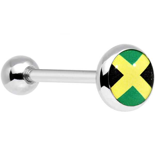 Stainless Steel Jamaican Flag Barbell Tongue Ring