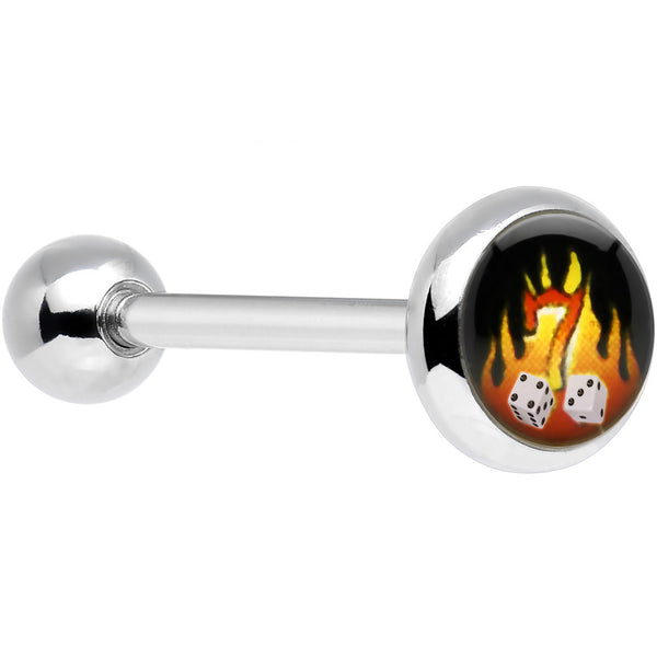 Stainless Steel Blazing Seven Barbell Tongue Ring