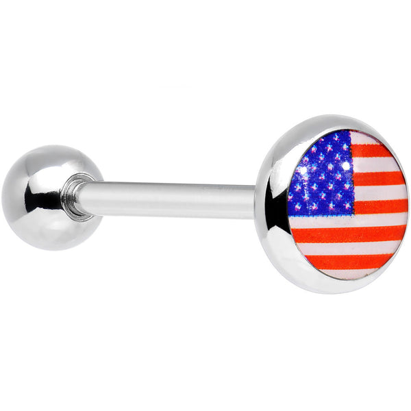 Stainless Steel American Flag Barbell Tongue Ring