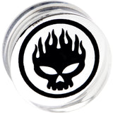 18mm Acrylic Photo Inlay Flaming Skull Plug