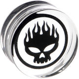"7/8"" Acrylic Photo Inlay Flaming Skull Plug"