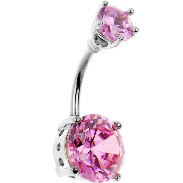Pink 10mm Round Cubic Zirconia Belly Ring