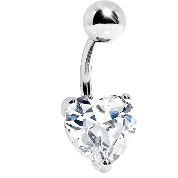 Clear 10mm Heart Cubic Zirconia Belly Ring