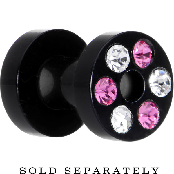 6 Gauge Black Acrylic Pink Multi Jeweled Flesh Tunnel