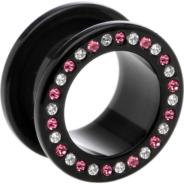 20mm Black Acrylic Pink Multi Jeweled Flesh Tunnel