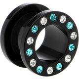 "1/2"" Black Acrylic Blue Multi Jeweled Flesh Tunnel"