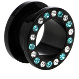 9/16 Black Acrylic Blue Multi Jeweled Flesh Tunnel