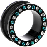 18mm Black Acrylic Blue Multi Jeweled Flesh Tunnel