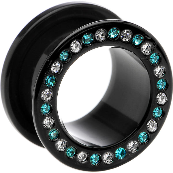 20mm Black Acrylic Blue Multi Jeweled Flesh Tunnel
