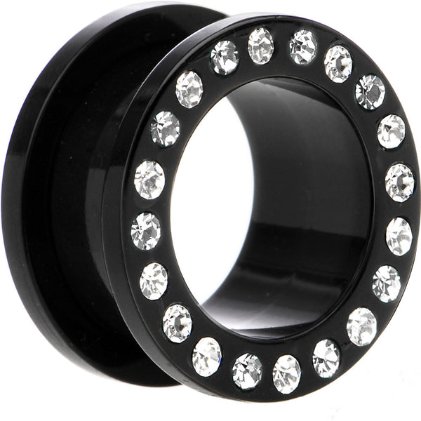 "5/8"" Black Acrylic Clear Jeweled Flesh Tunnel"