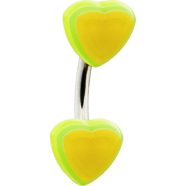 Lime CANDY HEART Belly Button Ring