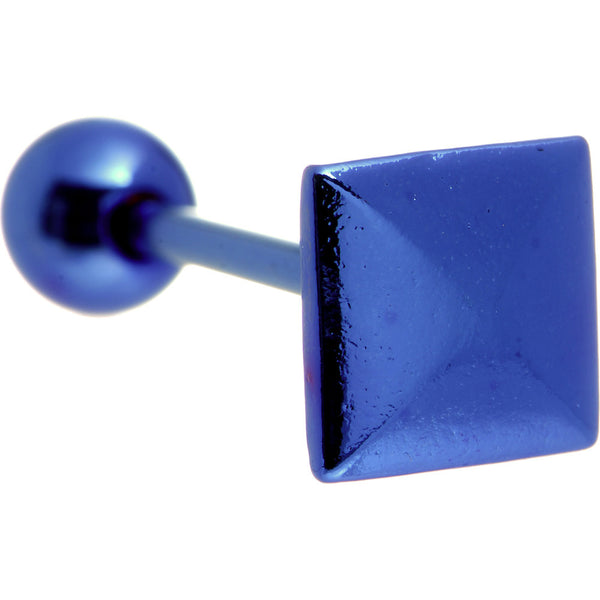 Blue Raised Square Anodized Titanium Barbell