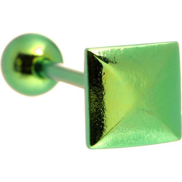 Green Raised Square Anodized Titanium Barbell