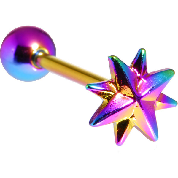 Rainbow Raised Star Anodized Titanium Barbell