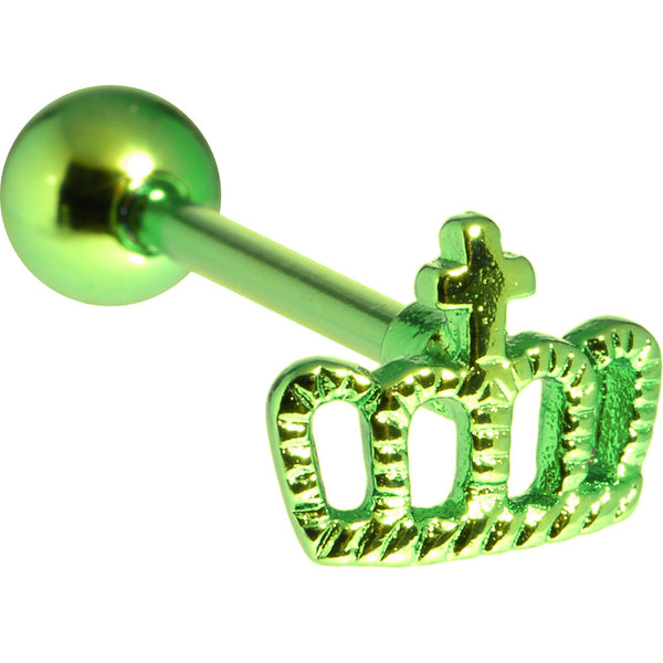 Green Crown Anodized Titanium Barbell