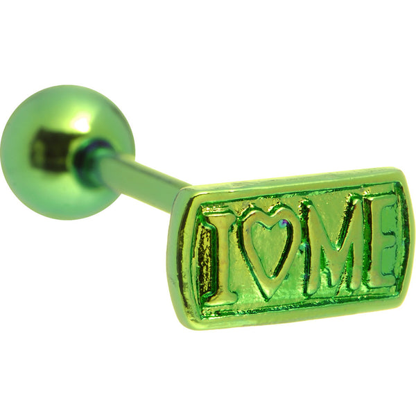Green I LOVE ME Anodized Titanium Barbell