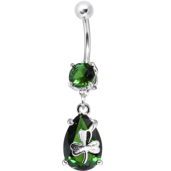 Emerald Cubic Zirconia Teardrop Shamrock Belly Ring