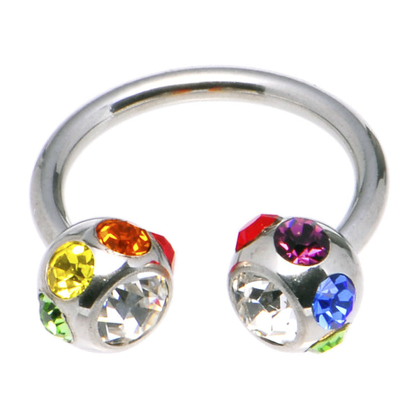 Multi Color Gem Pride Surgical Steel Horseshoe