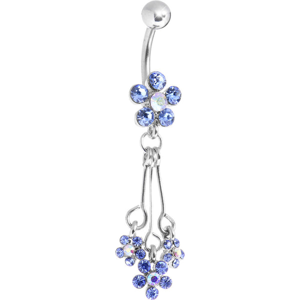 Light Blue Cubic Zirconia Flower Power Trio Belly Ring