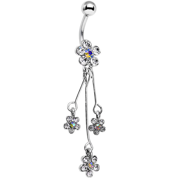 Clear Cubic Zirconia Flower Power Trio Belly Ring