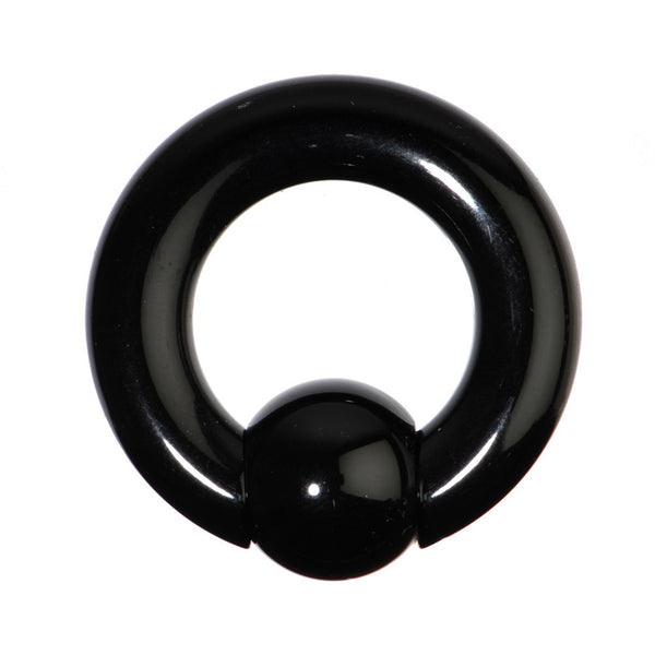 0 Gauge Black Acrylic Ball Captive Ring