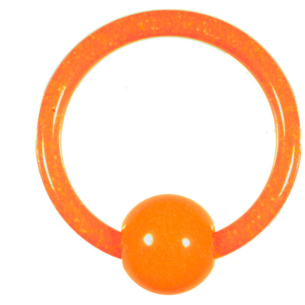14 Gauge Orange UV Glow in the Dark Ball Captive Ring