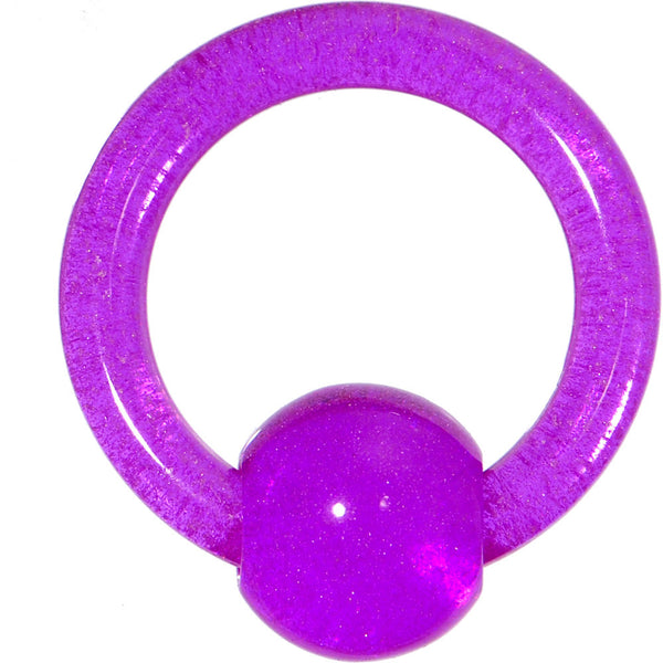 10 Gauge Purple UV Glow in the Dark Ball Captive Ring