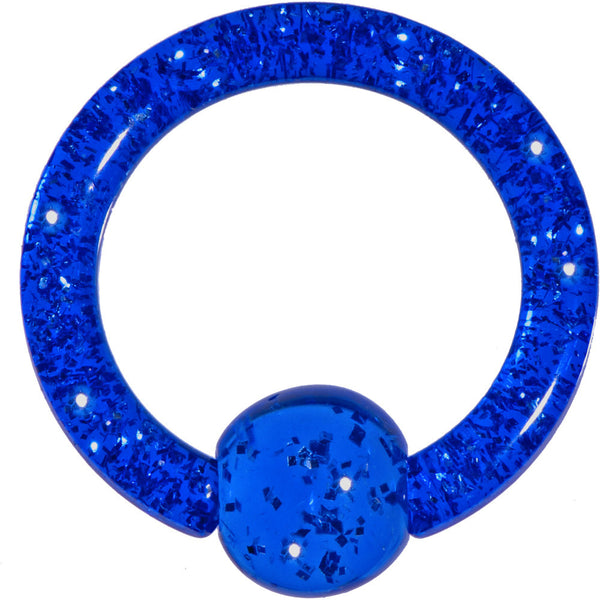 8 Gauge 5/8 Dark Blue Glitter BCR Captive Ring