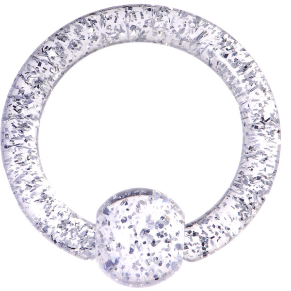 8 Gauge Clear Glitter Ball Captive Ring