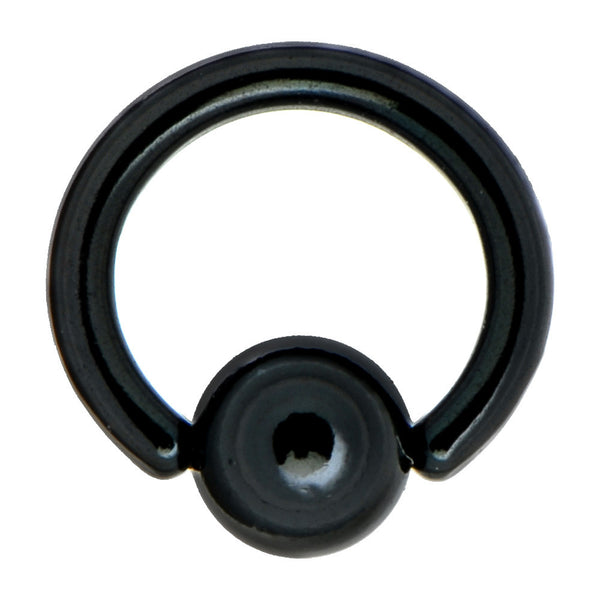 "14 Gauge 5/16"" Black Anodized Titanium Ball Captive Ring"