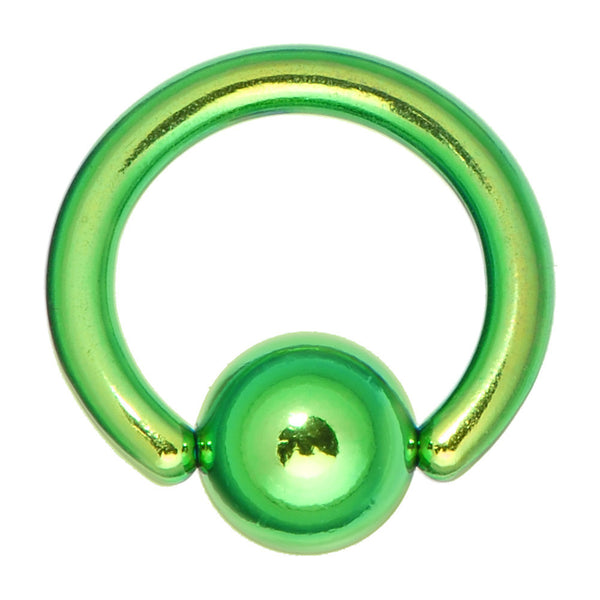"14 Gauge 5/16"" Green Anodized Titanium Ball Captive Ring"