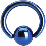 "16 Gauge 1/4"" Blue Anodized Titanium Ball Captive Ring"
