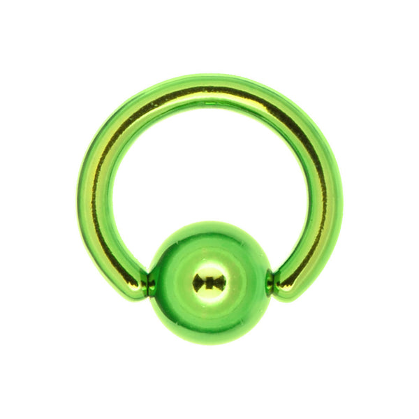 16 Gauge 1/4 Green Anodized Titanium Ball Captive Ring