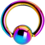 "16 Gauge 1/4"" Rainbow Anodized Titanium Ball Captive Ring"