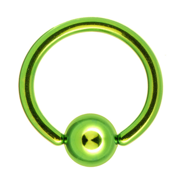 "16 Gauge 5/16"" Green Anodized Titanium Ball Captive Ring"