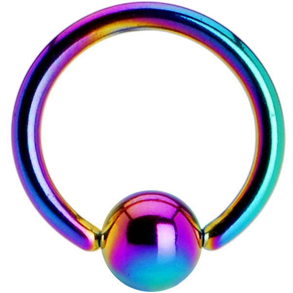 16 Gauge 5/16 Rainbow Anodized Titanium Ball Captive Ring