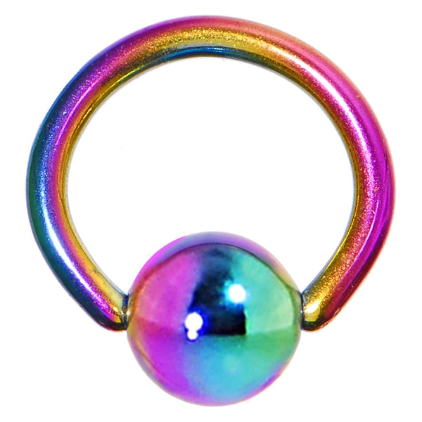 "18 Gauge 1/4"" Rainbow Anodized Titanium Ball Captive Ring"