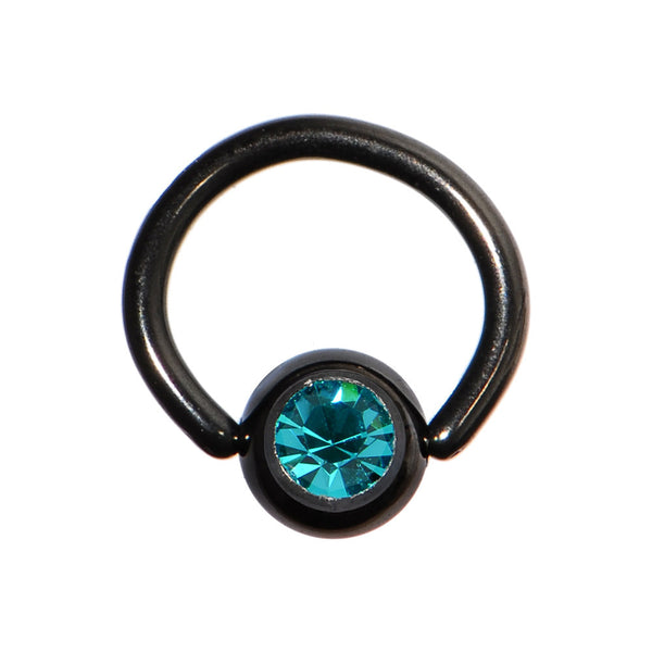 18 Gauge 1/4 Blue Zircon Austrian Crystal Black Titanium BCR Captive Ring