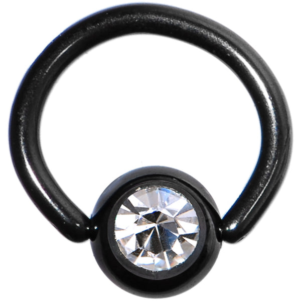 "18 Gauge 1/4"" Austrian Crystal Black Titanium BCR Captive Ring"