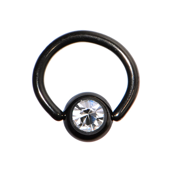 18 Gauge 1/4 Austrian Crystal Black Titanium BCR Captive Ring