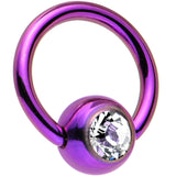 18 Gauge 1/4 Purple Captive Ring Created with Swarovski Crystals