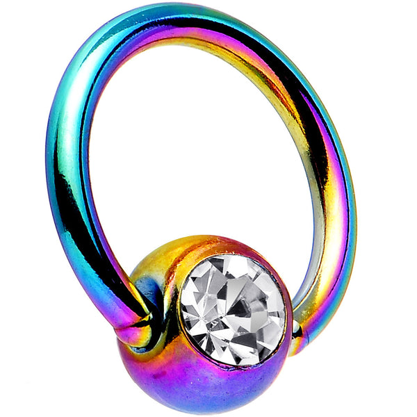 18 Gauge 1/4 Austrian Crystal Rainbow Titanium BCR Captive Ring
