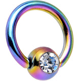 "16 Gauge 1/4"" Austrian Crystal Rainbow Titanium BCR Captive Ring"