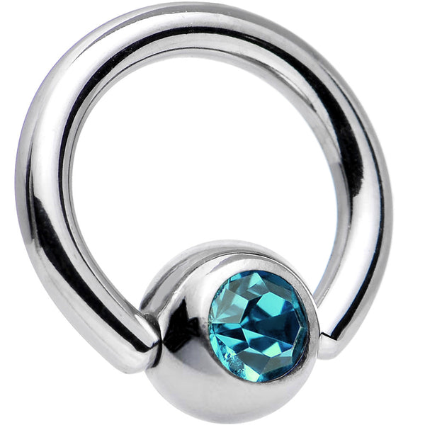 14 Gauge 5/16 Zircon Blue Captive Ring Created with Swarovski Crystals
