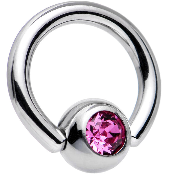 14 Gauge 5/16 Rose Captive Ring Created with Swarovski Crystals